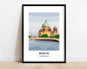 Berlin Poster of the Berliner Dom | Germany Travel Poster | Minimalist Wall Art