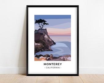 Monterey At Dusk, California Travel Poster, Minimalist Wall Art