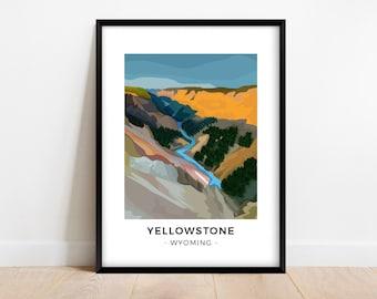 Modern Yellowstone National Park poster, Minimalist Wyoming travel print, Colorful river wall art