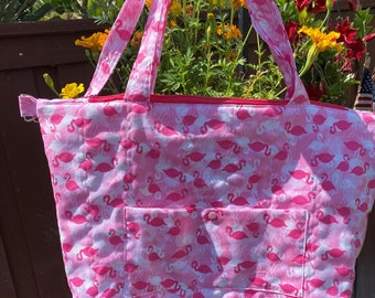 Handmade Quilted Flamingo Tote/Purse and Small Zipper Pouch