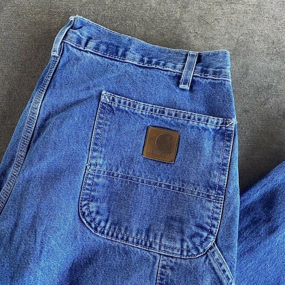 Vintage 90s Blue Carhartt Denim Dungaree Jeans Si… - image 2