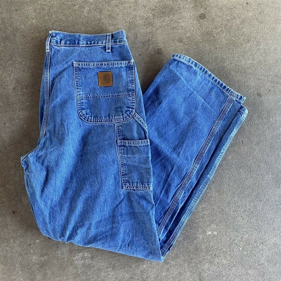 Vintage 90s Blue Carhartt Denim Dungaree Jeans Si… - image 1