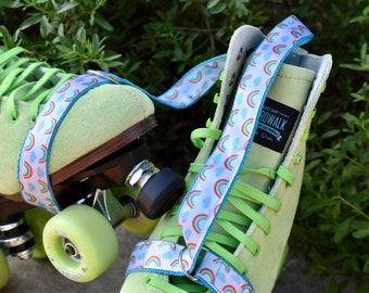 Rainbow cloud skate leash,  yoga mat strap, roller skate strap, carrying strap, skateboard harness, skateboard sling