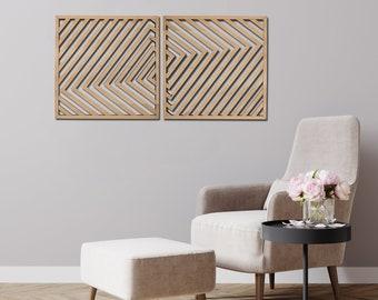 Modern Wood Wall Art, Wooden Geometric Wall Panel, Abstract Wood Wall Hanging, Rustic Large Wall Panels, Adjustable Wood Wall Art