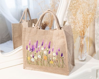 Embroidered burlap bag / Lavender and daisy embroidery bag/ Tote bag hand embroidery/ Autumn/ Fall tote bag/ Handmade bag/ Best gift for her