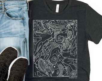 Animals and Fox Unisex T-shirt, Animals Tattoo Style Art, Animal Lover Gift, Line work ink style