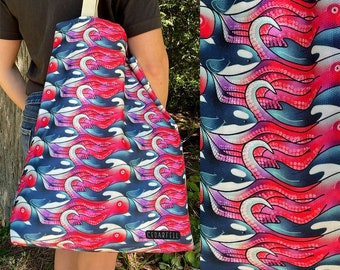 Nautical Tote Bag, Orca and Octopus Pattern Bag, Reusable Bag with Tessellated Print