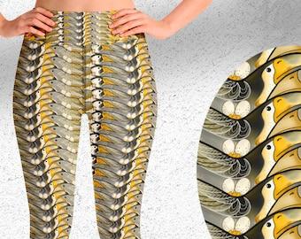 Birds High-Waist Yoga Leggings | Fitness Pants | Activewear Bottoms | Gym clothes | Yellow Gold Birds Print Sports apparel |