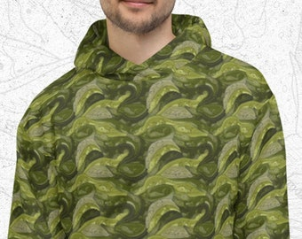 Croc Camo Hoodie, Unisex Camouflage Sweater, Bold Print Hoodie, Outdoor Lover, Tessellated Print