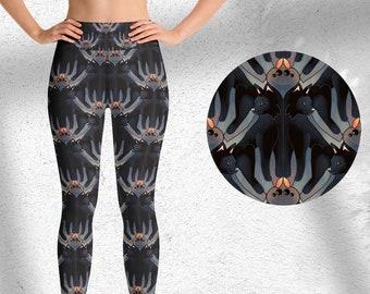 Cats and Spiders Yoga Leggings, Halloween pants, High-waist fitness leggings