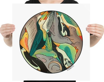 Animal Circle Print, Tessellated Animals Wall Art, Art Print, Illustration, Giclée Painting, Toucan, Seal, Bird, Penguin, Rat Art