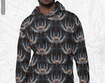 Black Cat and Spiders Unisex Hoodie, Tessellated Pattern Sweater, Halloween Style, Black Cat Witch Sweater, Unisex clothing, Spider Graphic