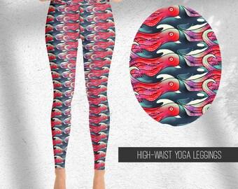 Nautical Yoga Leggings | Killer whale Print | Octopus print yoga pants | High waist leggings