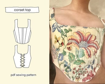 Corset top sewing pattern, size XS, S, M, L, XL, 5 sizes, patterns, sewing, sew, pdf printable, download, downloadable crop top bustier stay