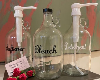 Refillable Customised 1/2 Gallon Glass Jugs for Laundry Detergent, Softener, Bleach - Personalized 1/2 Gallon Laundry Growlers with Pump/Cap