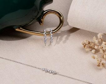 Wedding Set, Sterling Silver Earring with Bracelet, Diamond earring, Rosegold bracelet, Bridesmaid Gift, 925k Silver bracelet, Handmade