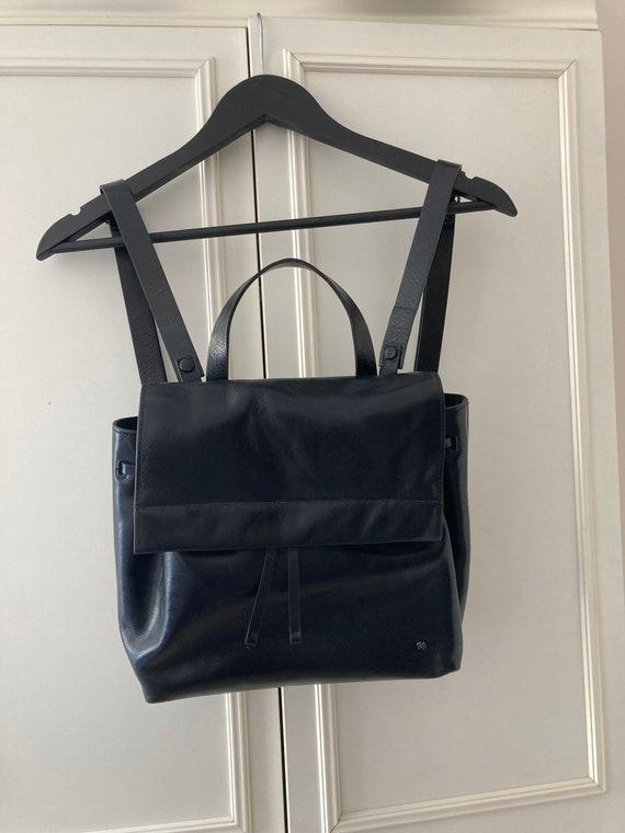 Vintage Halston Heritage black leather backpack - image 1