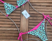 AleMaya Women s Animal Print Bathing Suit Halter Bikini Set Straps Tie String 2 Pieces Swimsuit