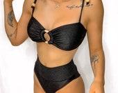 AleMaya Ring Bandeau Bikini in Black ,Super comfy, high quality,Stretchy textured fabric, Adjustable straps ,Hot pants bikini bottoms