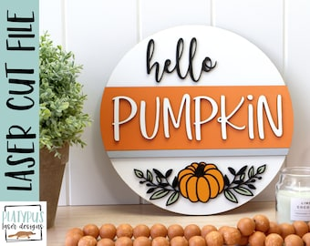 Hello Pumpkin sign- Thanksgiving sign SVG Laser file - Glowforge file - Thanksgiving door hanger cut file - Digital Download