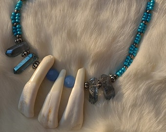 Hemimorphite and White Buffalo Teeth Goblin Enchanted Necklace 30 Long Green Agate