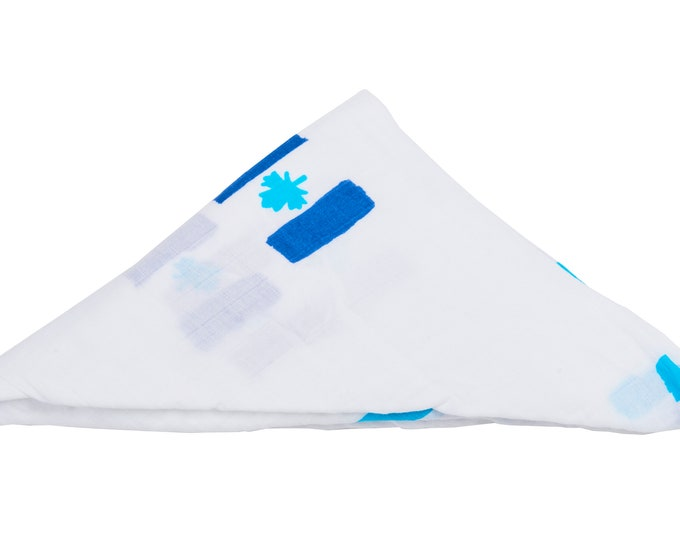 Canadian Charity Blue- baby swaddle blanket 100% organic cotton