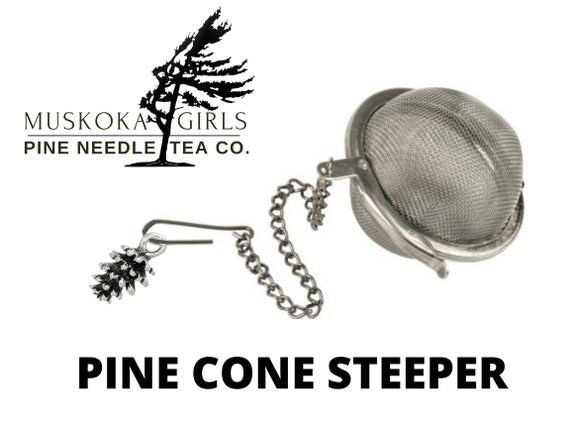 WHITE PINE Cone charm and Stainless Steel Tea STEEPER to use for our Canadian Eastern White Pine Loose Needles