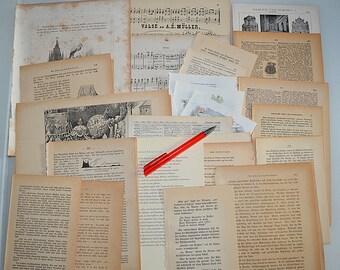 50 antique BOOK PAGES 1874-1930 he Vintage Scrapbooking Junk Journal Tinkering Cookbook Medicine Medicine Music Sheets Poems