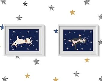 Cat and Dog in Space prints - nursery wall art - kids wall art - children's wall art - cat and dog art prints - nursery wall decor
