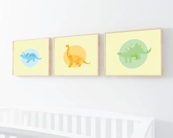 Set of 3 - Dinosaur art prints - Dinosaur nursery art - Nursery wall art - Kids wall art - Kids wall decor - Nursery wall decor