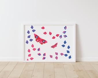 Butterfly art print - nursery wall art - kids wall art - children's wall art - garden art prints - nursery wall decor - butterfly garden art