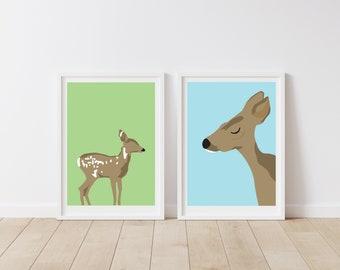 Mama and baby deer art prints - woodland nursery art - kids wall art - children's wall art - deer and fawn art prints - nursery wall decor