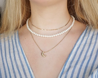 Harry Styles // Faux Pearl Necklace Cream white beads 4 mm / 6 mm stainless steel