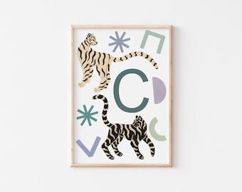 A3 Tiger Letter Print / Initial Print / Nursery Art Print / Kids Room Art Print / Tiger Wall Art / Nursery Wall Art / Kid's Room Wall Art