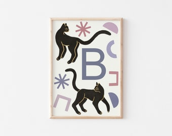 A3 Panther Letter Print / Initial Print / Nursery Art Print / Kids Room Art Print / Animal Wall Art / Nursery Wall Art / Kid's Room Wall Art