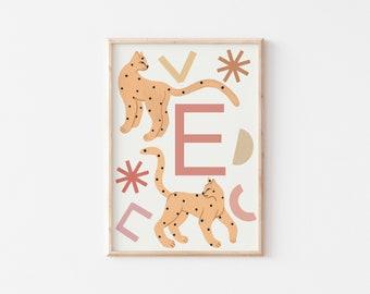 A3 Lynx Letter Print / Initial Print / Nursery Art Print / Kids Room Art Print / Animal Wall Art / Nursery Wall Art / Kid's Room Wall Art