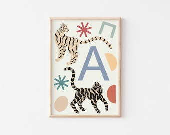A4 Tiger Letter Print / Initial Print / Nursery Art Print / Kids Room Art Print / Tiger Wall Art / Nursery Wall Art / Kid's Room Wall Art