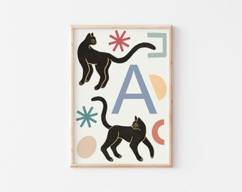 A4 Panther Letter Print / Initial Print / Nursery Art Print / Kids Room Art Print / Animal Wall Art / Nursery Wall Art / Kid's Room Wall Art