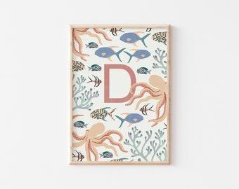 A4 Underwater Letter Print / Initial Print / Nursery Art Print / Kids Room Art Print / Under The Sea Wall Art / Nursery Wall Art