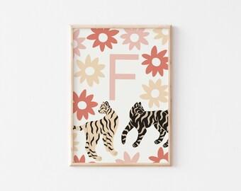 A4 Tiger Letter Print / Custom Initial Print / Initial Art Print / Kids Room Art Print / Nursery Wall Art / Alphabet Wall Art