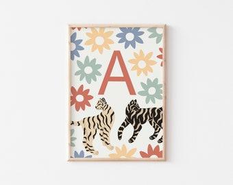 A3 Tiger Letter Print / Customisable Initial Print / Nursery Art Print / Alphabet Print / Nursery Wall Art / Kid's Room Wall Art