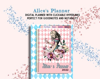 Alice in Wonderland  Digital Planner with Hyperlinks Gratitude Journal,Financial Planner,Meal Planner, Self Care Trackers, Journal and More.
