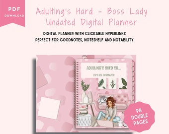 Adulting's Hard-Boss Lady Digital  Planner-Monthly, Weekly, Daily Planner, Meal Planner, Budget Tracker, Mood Tracker, 12 Monthly Calendars