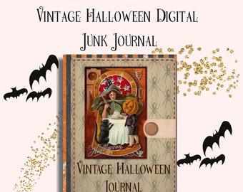 Vintage Halloween Junk Journal - Digital or Printable, Vintage Halloween Ephemera, Scrapbooking