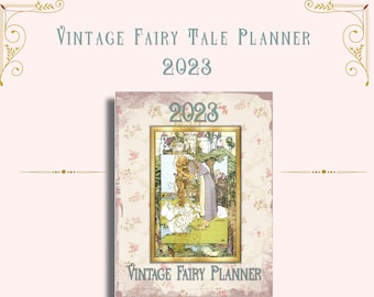 Vintage Fairy Tale 2023 Printable Planner-Planner Inserts Monthly, Weekly, Daily Planner, Meal Planner, Budget Tracker, Mood Tracker