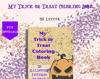 My Trick or Treat Coloring Book, Printable Coloring Book, Halloween Coloring Pages