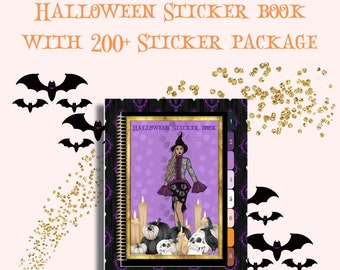 Halloween Digital Sticker Book with 200+ Halloween Stickers  - 8 Sections are clickable  - Post its, Icons, Ribbons, Shapes and more