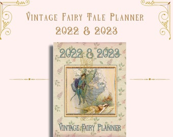 Vintage Fairy Tale 2022-2023 Printable Planner-Planner Inserts Monthly, Weekly, Daily Planner, Meal Planner, Budget Tracker, Mood Tracker