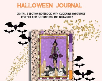 Halloween Digital Notebook - Journal with Hyperlinks - 5 Sections are clickable  - Bonus Dot Journal Section - Goodnotes