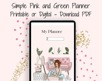 Pink and Green Printable Planner, Undated Digital Planner, Simple Planner, Daily Planner, Weekly Planner, Monthly Planner
